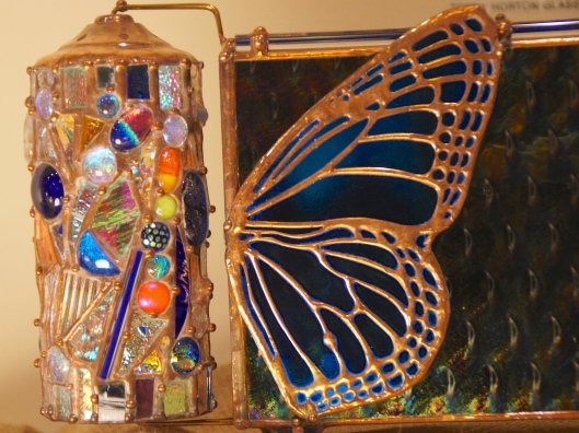 Glass art from--where else?--Nellie Bly.