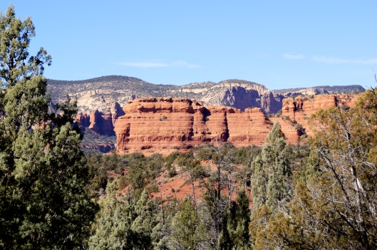 As we headed up the mountain we could see the sandstone layers of the mesa.